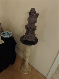 vintage soap stone pedestal with black marble top