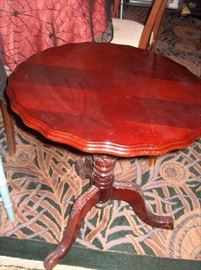 fold down tea table; if sell dining table, wool rug with peacock feather design can be sold also