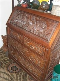fold top secretary desk; teak; carvings! over 40 yrs old