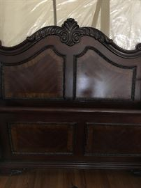 Queen Cherry Mahogany Sleigh Bed