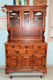 Wood Cabinet w/Hutch