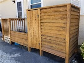 Outdoor shower and trash can corral