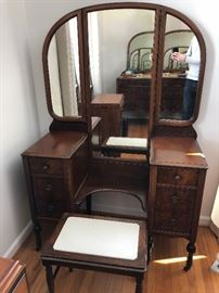 Antique vanity with mirror & bench