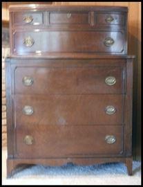 "Vintage mahogany High boy 50""h x 38""w x 17.5""d"