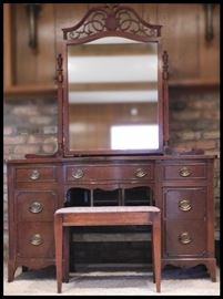 Vintage Mahogany Vanity with mirror and bench 50h x 32w x 18d