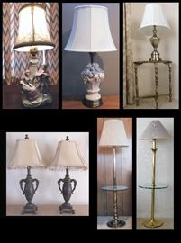 14 inch tall porcelain figurine lamp, Ceramic and brass lamp and more.  Several are from Stiffel.