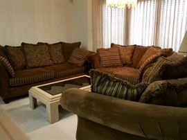 Brown 3-piece Sofa, Love Seat, Double Chair