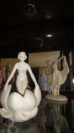 Art Deco Lady Figurine flower frog