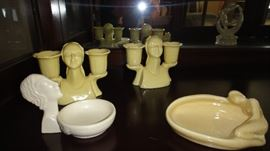 Candle Sticks, Art Deco Lady Figurine dishes