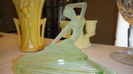 Art Deco,  Nude Figurine, Green Glass