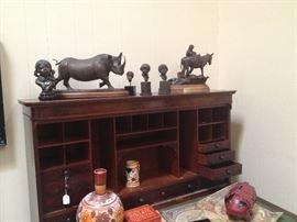 Secretary Desk with Bronzes on Top