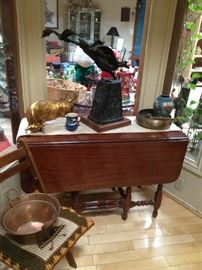 Huge Lincoln Fox Bronze, Drop Leaf Table, Old Copper Pots