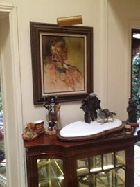 Unknown Artist Original Oil on Canvas, Bronzes, Glass and wood Display cabinet