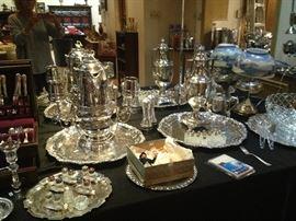 Sterling Flatware, Sheffield SP Water urn, Trays