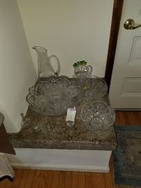 Heavy Unmarked Crystal Vases, punch bowl set, pressed glass bowl