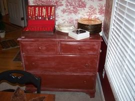 ANOTHER PAINTED CHEST, GOLD-TONE FLATWARE SET & MISC.