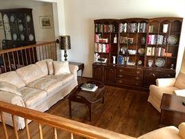 Henredon sofa and Ethan Allen book case