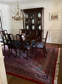 Ethan Allen dining room table and chairs and china cabinet