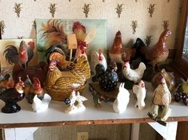 Large assortment of rooster kitchen decor