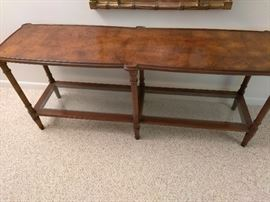 Entry table wood with one glass shelf    http://www.ctonlineauctions.com/detail.asp?id=696063