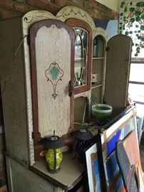 Nicely painted antique cabinet