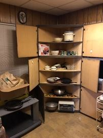 kitchen items, pots pans, serving items small appliences.