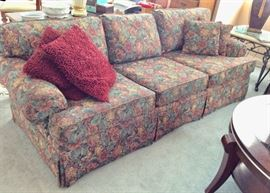 """Flower patterned colorful couch - 82""""L x 39 W x 29H."""