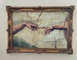 Brushstrokes - Michaelangelo's Creation of Adam Painting, 79 of 4500.  Complete with certificate of authenticity.