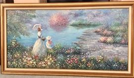 """Mother and daughter around a lake canvas painting in wood frame.  Artist unknown. 53"""" L x 29 """" H."""