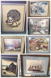 Multiple picture/paintings in frames.