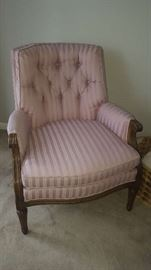 $45    light pink chair with wood trim