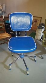 $75   blue vinyl desk chair