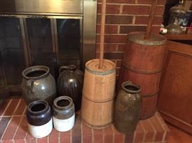 ANTIQUE MILK CHURNS CATAWBA POTTERY