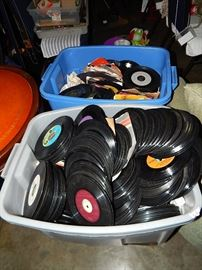 records, lps, 45's as found