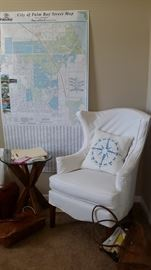 "Slipcovered Leathercraft Wing Chair, Pier One X java side table and 28"" glass top"