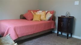Queen size coverlet set, assorted pillows. vintage small Bombay chest