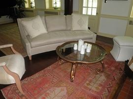 Rare silk tribel carpet, vintage coffee table