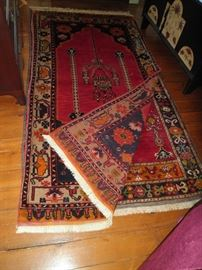 Several tribal wool vegetable dyed hand made Turkish carpets.
