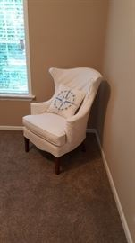 White Duck Slip Covered Wing Chair,  nautical pillow sold separately.