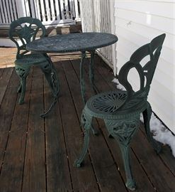 Verdigris bistro table and chairs