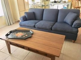 Ethan Allen Navy Sofa