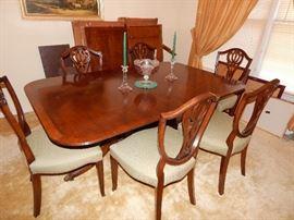 1950s Sheraton table, Hepplewhite chairs
