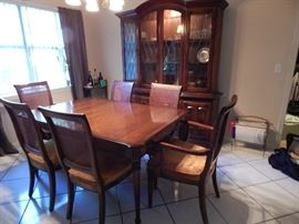 Ethan Allen Manor House Collection 1970s Table, Chairs, China Cabinet, Table Pads and 2 Leafs - All for $500. Will Pre-sell