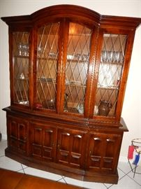 Lighted, glass front China Cabinet.  - 2 pieces, top and bottom