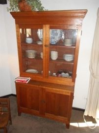 "Beautiful stepback cupboard, made of clear pine, hand made in real nice condition.  Measures 76"" tall x 42"" wide x 20"" deep. Crown top is slightly wider."