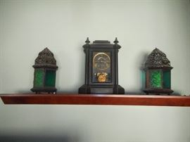 vintage mantle clock, in working condition, pair candle lamps