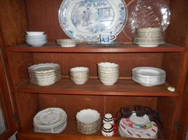 interior pic of cupboard. Various fine china, Bavarian, Limoges and Asian