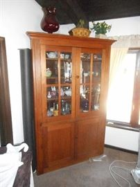"Fabulous Corner cabinet !!!  Very Vintage ! Hand crafted!  Walnut with hand rubbed finish. Measures 80"" tall x 48"" wide 20"" deep. Once in a life time find!!"