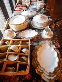 The Fine Bavarian China Set , service for 10 with extras and 10 serving pieces. Each Place Setting has seven pieces.