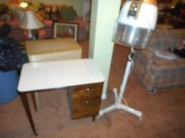 50's /60's era Bee Hive Hair Dryer and salon table
